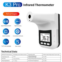 2021 novo k3 pro handsfree display lcd digital termometro inteligente sem contato testa corpo k3 alarme termômetro infravermelho k9