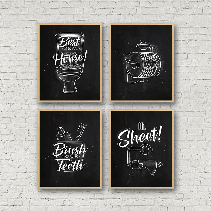 Toilet Sign Bathroom Canvas Painting Posters Prints Brush Teeth Black White Quotes Art Decorative Pictures Bathroom Decor CH112