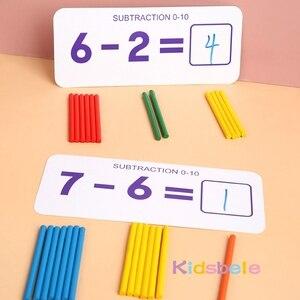 Image 3 - Juguetes matemáticos Montessori para niños, juguetes educativos para edades tempranas, calcomanía de madera para contar números, regalo de cumpleaños para niños