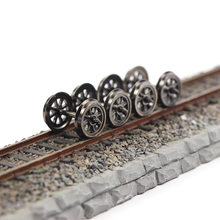 HP1487 Modeltreinen 38 Inches Dc Wielen Set Railway Layout 12Pcs/24Pcs Ho Schaal 1:87 38 ''Metalen Spoked Dc Wielen