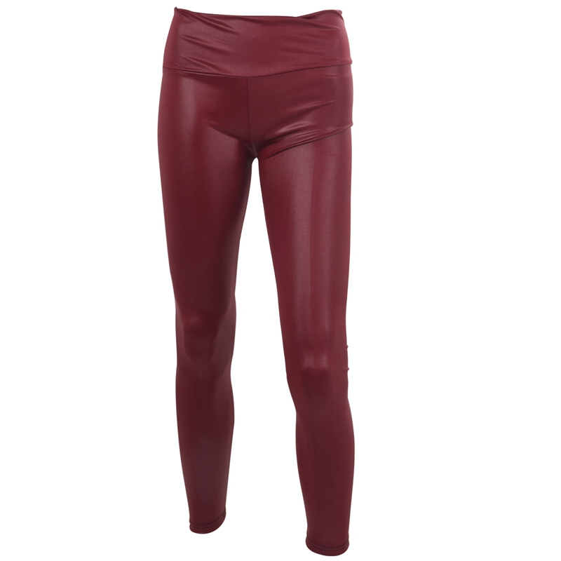 Sexy Womens Faux Leather Look High Waist Leggings Pants  Size L - Wine Red