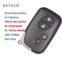Keyecu Smart Car Remote Key 4 Buttons ID47 for Lexus IS250 IS350 GS350 LS460 ES350, HYQ14AAB, 1551A 14AAB, 271451 3370 E