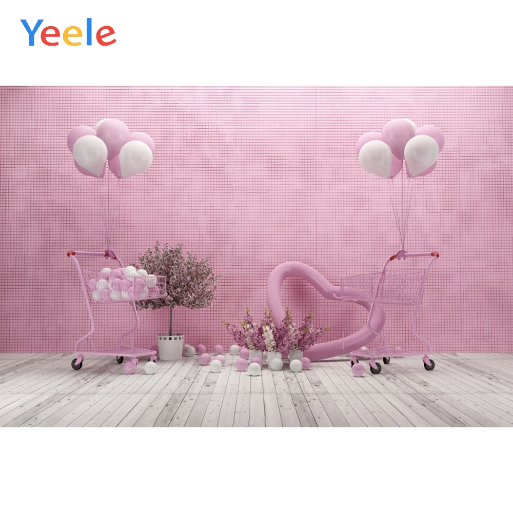 Pink Photography Backdrop Happy Birthday Banner Cartoon Pocoyo Photo Background 7X5Ft Vinyl Playroom Decorations Children Baby Boys Birthday Photo Booths Studio Booth Props Party Banner Supplies