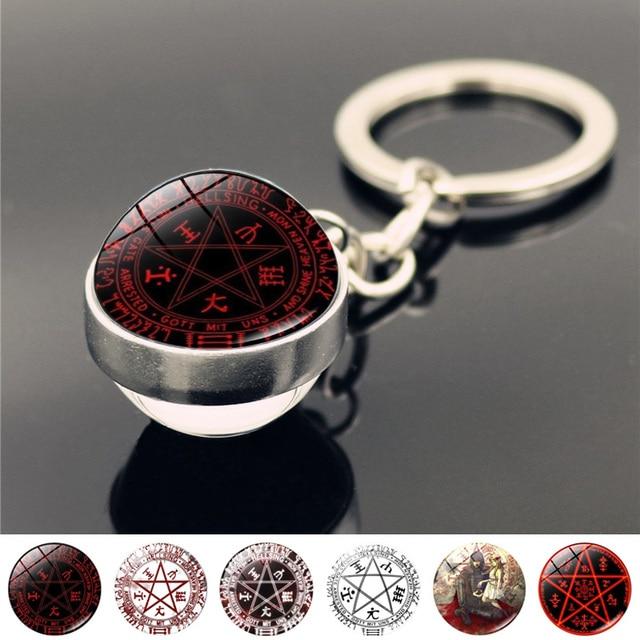 Hellsing Alucard Pentagram brelok brelok piękna biżuteria moda dwustronnie szklany breloczek piłka uchwyt pierścieniowy dla kobiet mężczyzn