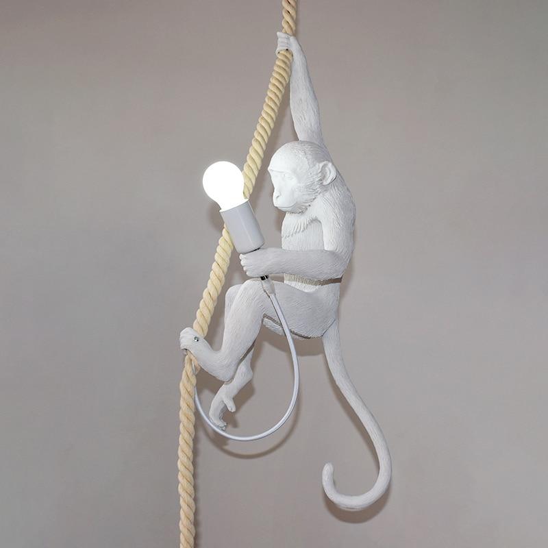 Resin Black White Monkey Pendant Light For Living Room Lamps Art Parlor Study Room Led Lights lustre With E27 Dimming Led Bulb - 4