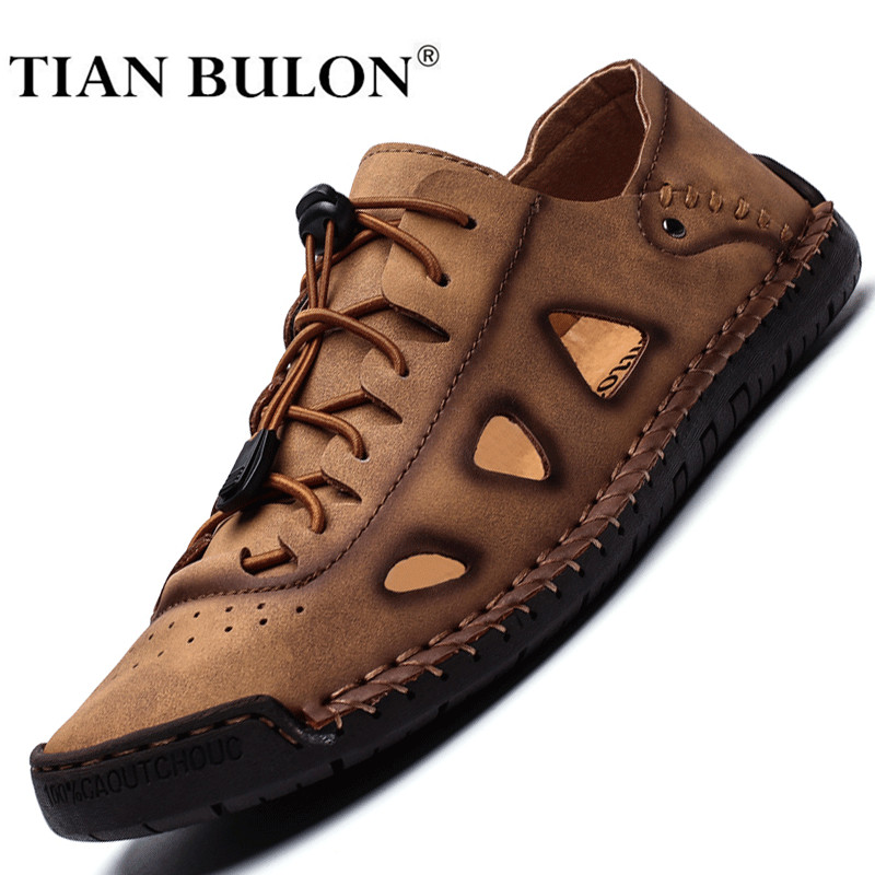 Summer Men Casual Shoes Sneakers Luxury Brand Genuine Leather Mens Loafers Moccasins Hollow Out Breathable Italian Driving Shoes