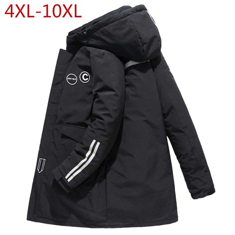 2019 Mens Winter Jacket 4XL-10XL Thick Warm Hooded Parkas Simple Long Hem Practical Windproof Coat and Jacket Large Size Outwear