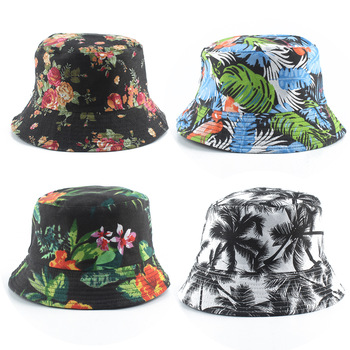 2020 New Fashion Summer Coconut Tree Flower Printed Fisherman Caps Panama Bucket Hats Reversible Gorro Pescador Men Women