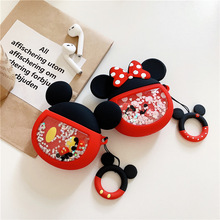 Glitter Quicksand Mickey Minnie Mouse Silicone Case for Apple Airpods 1 2 3D Dynamic Liquid Finger Ring Wireless Earphone Cover Box For Air pods 1/2 Headphone Earbuds Strap #EW