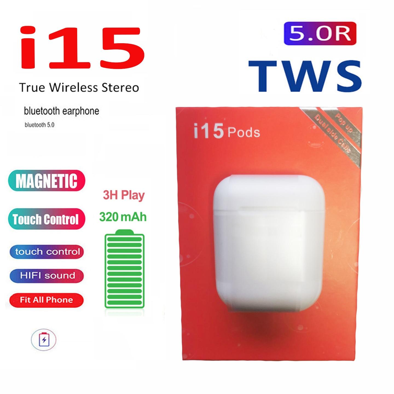 2020 New I15 Pod TWS Mini Bluetooth V5.0 Headset Wireless Earbuds PK I7 I9 I11 I14 I20 I12