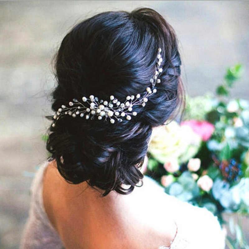 2019 accesorios para el cabello de boda tejidas a mano de perlas de cristal para el cabello, peine de flores, pinza para el cabello, joyería de moda para el cabello para mujeres