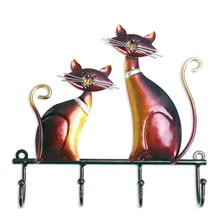 Tooarts żelazny brelok kot wieszak ścienny Decor 4 haczyki na płaszcze torby uchwyt na ubrania do montażu ściennego dekoracyjny jako prezent tanie tanio iron Zwierząt