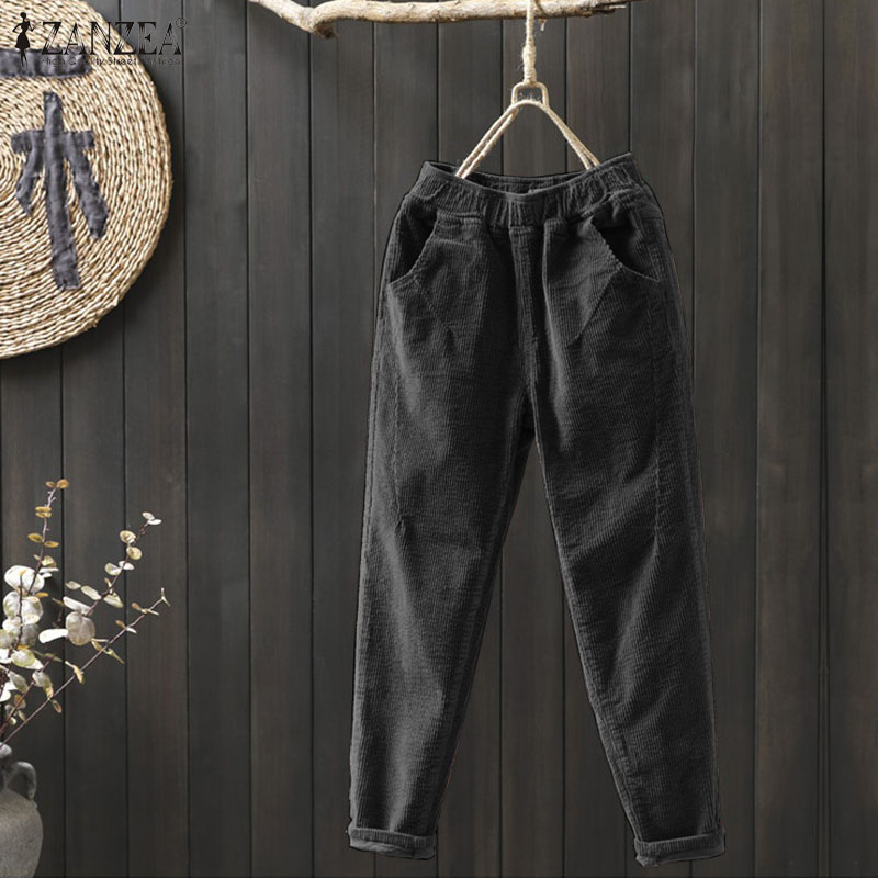 Corduroy Pants Women's Autumn Harem Trousers ZANZEA Winter High Elastic Long Pantalon Female Palazzo Plus Size Casual Turnip 7