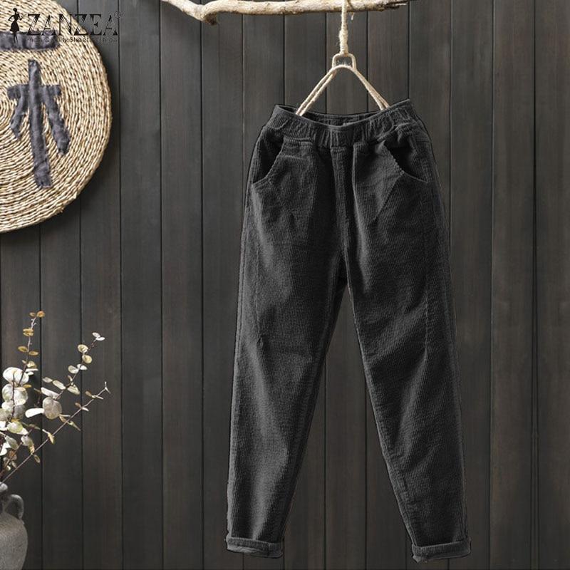 Corduroy Pants Women's Autumn Harem Trousers ZANZEA Winter High Elastic Long Pantalon Female Palazzo Plus Size Casual Turnip 7