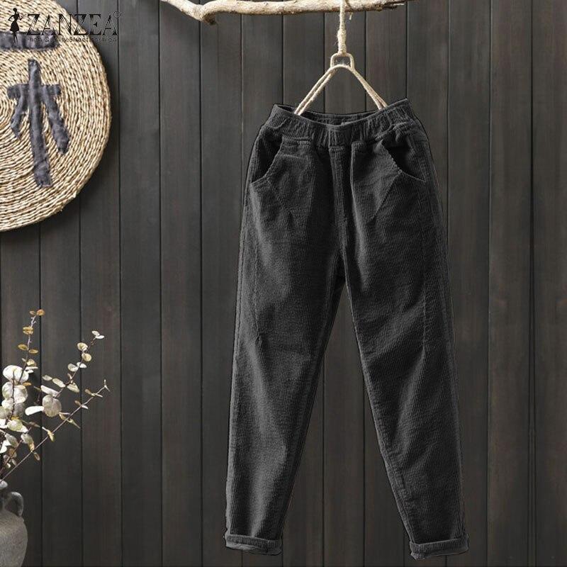 Corduroy Pants Womens Autumn Harem Trousers ZANZEA Winter High Elastic Long Pantalon Female Palazzo Plus Size Casual Turnip