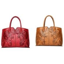 2 Pcs Women'S Leather Handbags Luxury Handbag Embossed Messenger Bags Brand Handbags Tote Bag Red & Orange