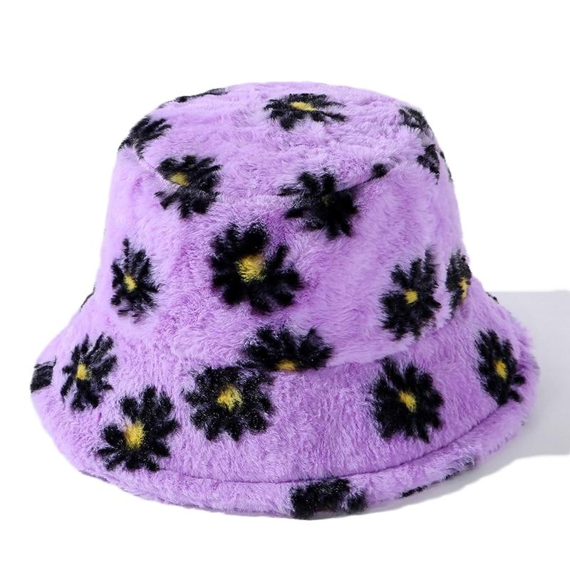 New Winter Faux Fur Daisy Bucket Hats For Women Thick Warm Hat Lady Korea Outdoor Travel Panama Girls Soft Velvet Fisherman Hat