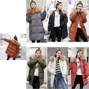 Image 5 - חורף סלעית חם למטה מעיל נשים מקרית ארוך למטה מעילי גבירותיי לעבות כותנה Parka בתוספת גודל הלבשה עליונה קוריאני Harajuku מעיל