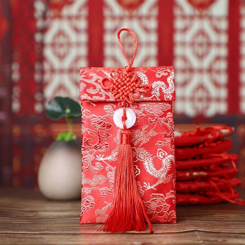 Chinese Style Red Envelope Lucky Money Bag Vertical Type Cloth Art High-grade Brocade New Year Wedding Tassel Knot Bag