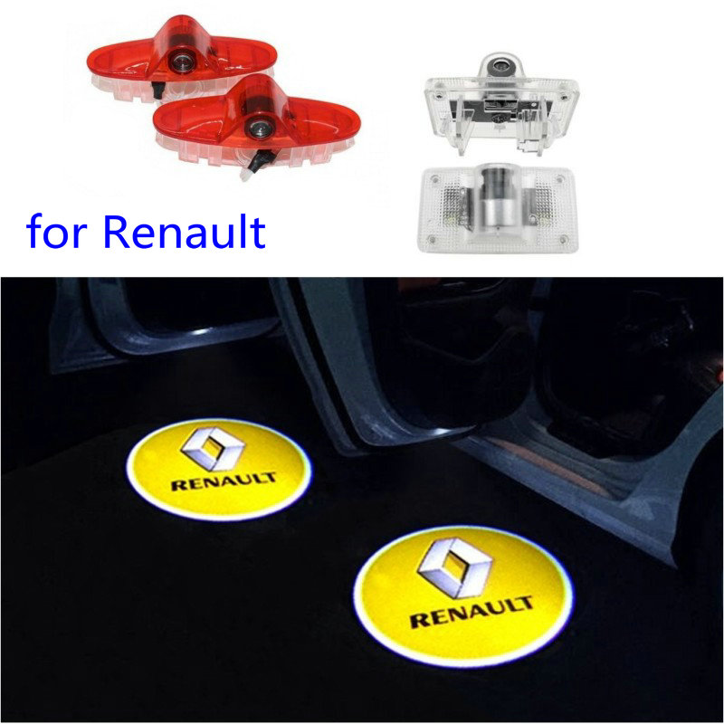 2pcs Car Led Logo Door Light For Renault Koleos Laguna Magane Latitude Talisman Laser Projector Ghost Lamp Welcome Light