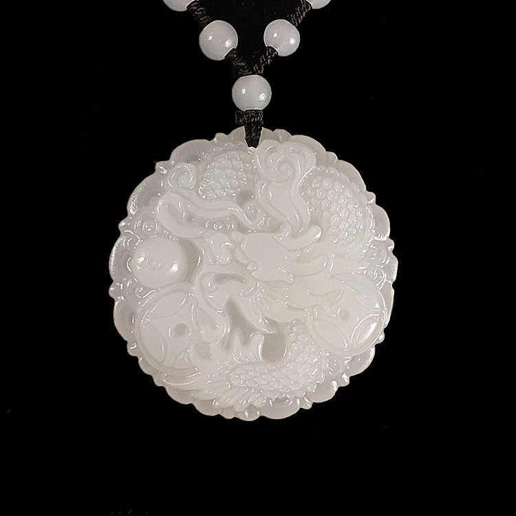สีขาวธรรมชาติหยกมังกรจี้ Jadeite สร้อยคอสร้อยคอสร้อยคอสร้อยคอสร้อยคอสร้อยคอสร้อยคอสร้อยคอสร้อยคอสร้อยข้อมืออัญมณีแฟชั่นอุปกรณ์เสริมมือแกะสลัก Man Luck ของขวัญ Amulet