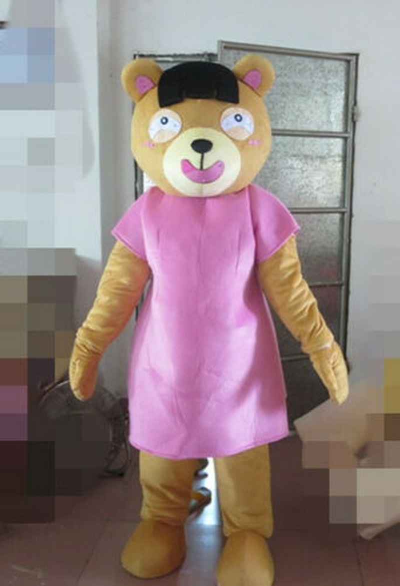 New Top Sale Yellow Pink Teddy Bear Mascot Costume Suits NEW ** Advertising Halloween Cosplay Hallowen Unisex Gifts