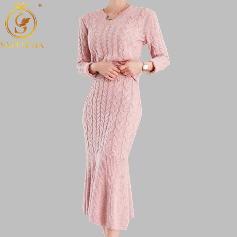 SMTHMA 2019 Autumn And Winter New V-neck Korea Sweater +High Waist Ruffle Fishtail Two Piece Skirt Set
