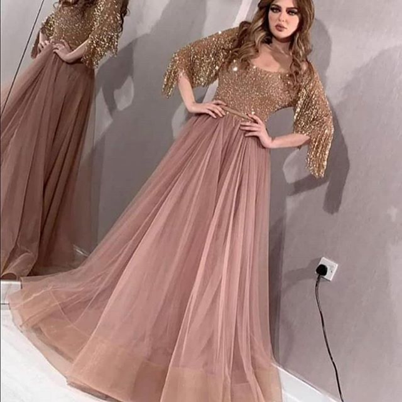 Sexy A-Line Tulle Sequined   Evening     Dresses   with Tassel helf sleeves floor length prom party wear