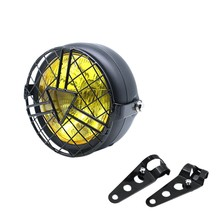 Universal Motorcycle Head Light Lamp Lampshade Grill Cover Retro Vintage Bracket Mask Mount Headlight for Har ley Cafe Racer Bob(China)