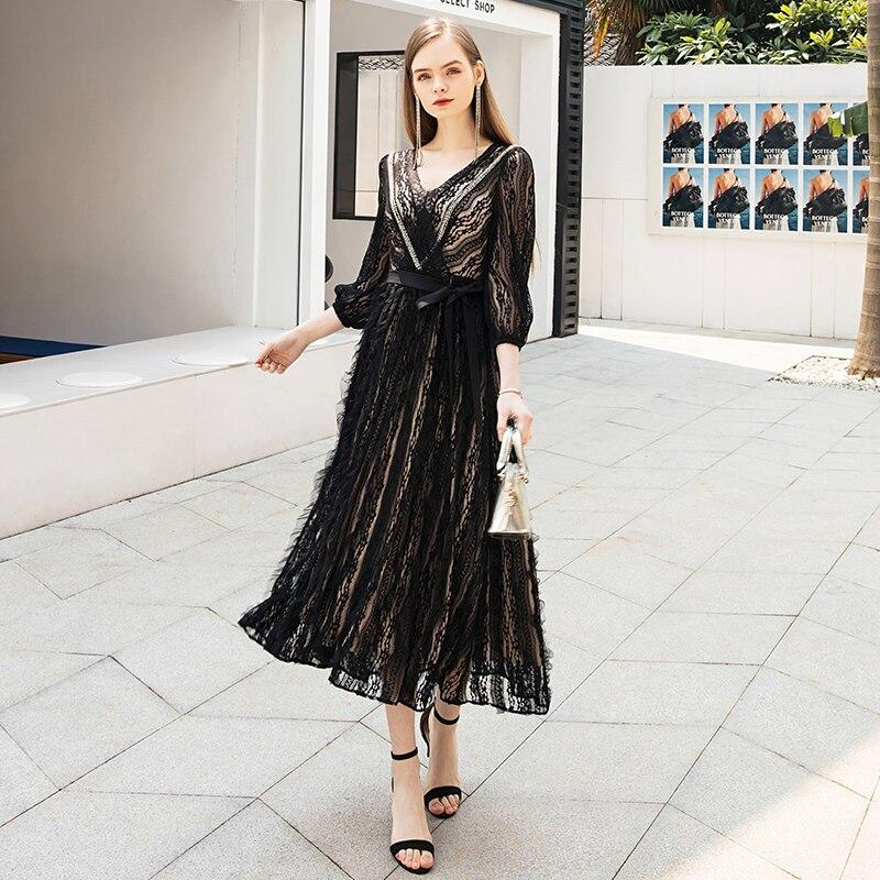 Chegada do Vintage Vestido de Renda Elegante com Decote em v Vestido de Manga Yigelila Nova Preto Três Quartos Império Sólido Fino Malha Vestido Longo 65629