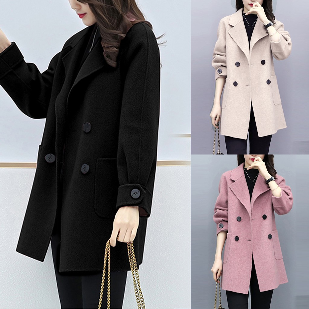 2019 Hot Products Women Work Solid Vintage Winter Office Long Sleeve Button Woolen Jacket Coat Dropshipping Discount Free