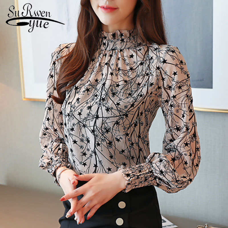 2019 Autumn Fashion Women Chiffon Blouses Casual Stand Collar Floral Women Clothing Long Sleeve Printed Shirt Women Tops 6197 50