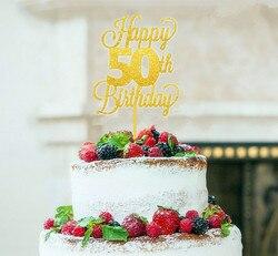 Акриловый Блестящий Золотой счастливый 50-й день рождения торт Топпер мама папа день рождения торт украшения Золотая тема вечерние deocartion