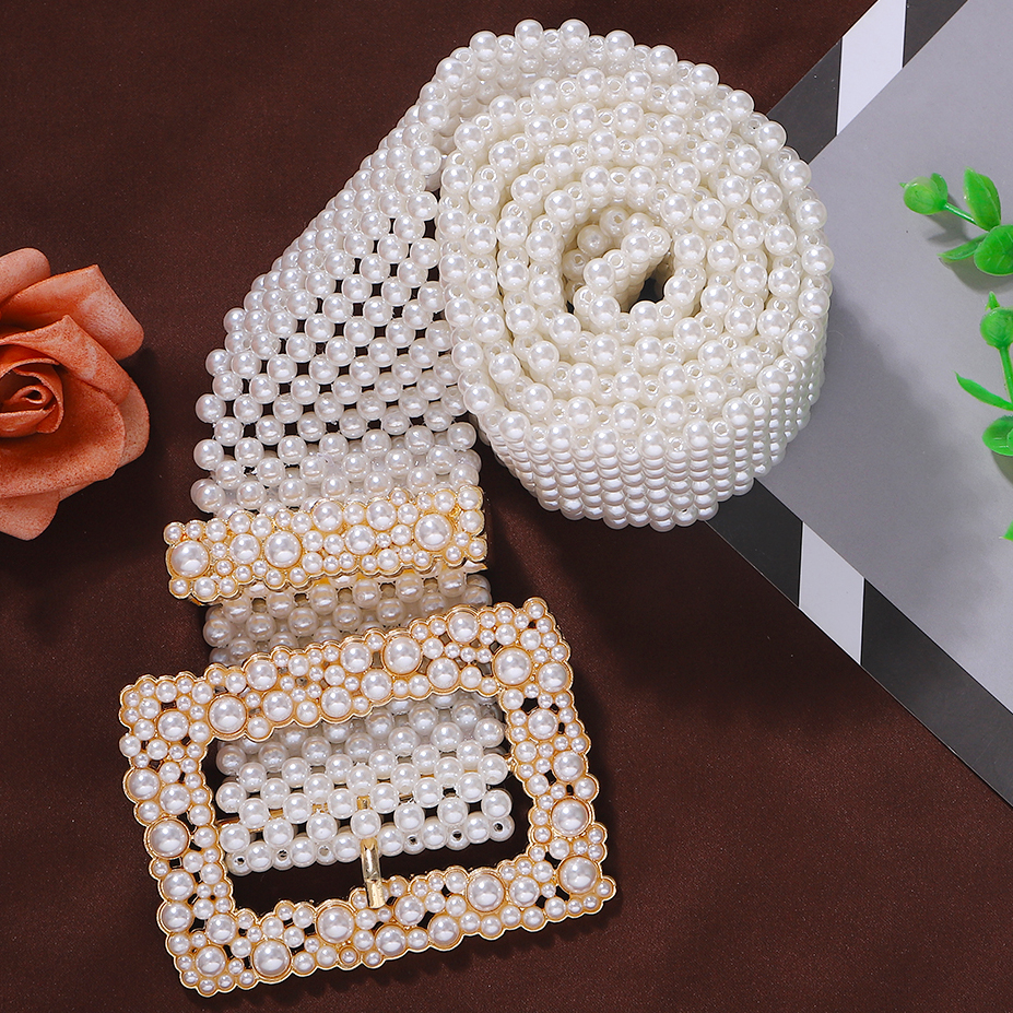 Best Lady Elegant Simulated Pearl Belts Women Fashion Accessories Waist Chain New Hollow Our Girls Belly Chain Gifts Wholesale