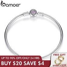 BAMOER autentyczne 100% 925 srebrny łańcuszek żmijka łańcuszek z sercem bransoletka i bransoletka luksusowa biżuteria PAS904