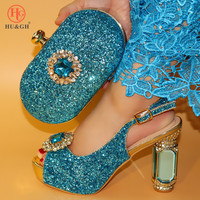 2019 Latest Popular Women Shoe And Bag Set African Shoes and Bag To Match Sky Blue High Quality Nigerian Party Shoes And Bag set