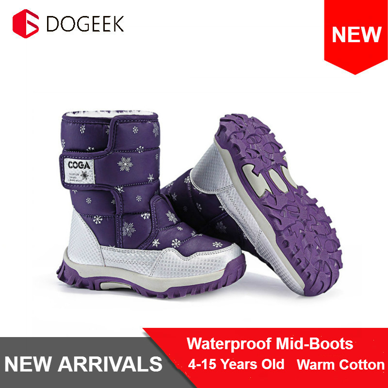 DOGEEK Waterproof Snow Boots Kids Girls Shoes Winter Boots Fashion Plush Children Shoes Students Sneakers Children Cotton Boots