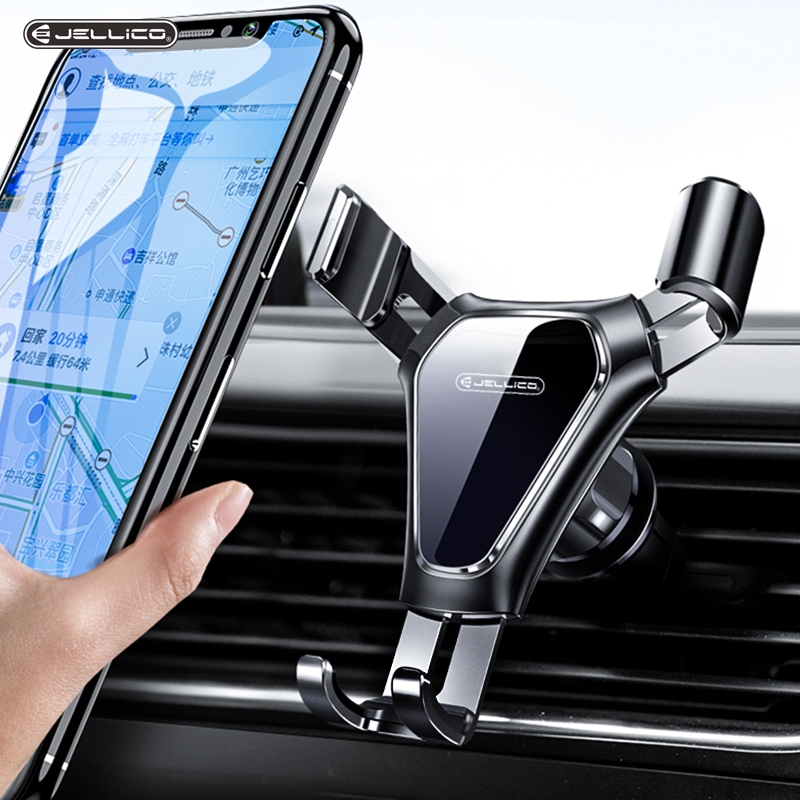 Jellico Universal Car Phone Holder Leather Gravity Car Bracket Air Vent Stand Holder In Car For IPhone Samsung Cell Phone Holder