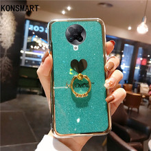 KONSMART Cute Love Glitter Case For Xiaomi POCO F2 Pro 6.67 Silicone Soft Finger Ring Phone Case POCO F2 Pro Luxury Back Cover вечернее платье red dust love bell f2 15
