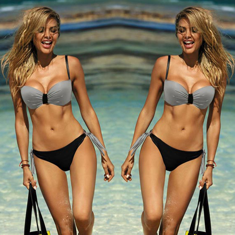 Low Waist Sexy Bikini Solid Swomwear Women Push Up Bikini Set 2020 Brazilian Swimsuit Swimming For Women Suits Bandage Bikinis