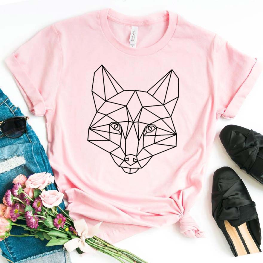 Geometric Fox Print Women Tshirt Cotton Hipster Funny T-shirt Gift Lady Yong Girl Top Tee Drop Ship ZY-439