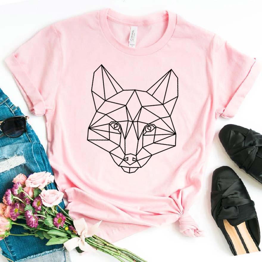 Geometric Fox Print Women Tshirt Cotton Hipster Funny T-shirt Gift Lady Yong Girl Top Tee Drop Ship ZY-439