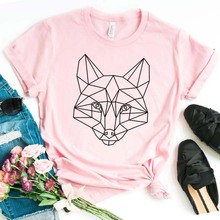geometric fox Print Women tshirt Cotton Hipster Funny t-shirt Gift Lady Yong Girl Top