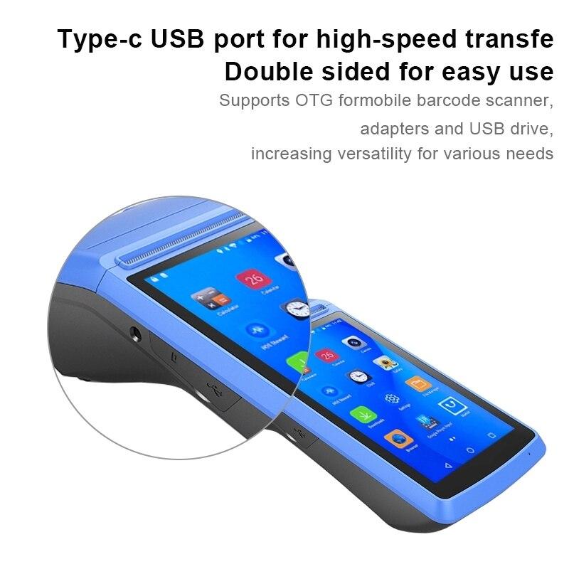Handheld Android PDA POS Terminal Drucker 3G WIFI Bluetooth NFC Eingebaute Thermo Drucker und Barcode Reader mit Ladegerät Dock