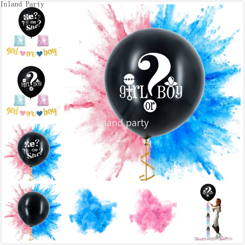 36 Inch <font><b>Big</b></font> Size We're Having A... Gender Reveal <font><b>Latex</b></font> <font><b>Balloons</b></font> Blue Pink Confetti <font><b>Latex</b></font> Air <font><b>Balloon</b></font> for Boy or Girl Baby Shower image