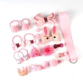 18Pcs/Set Baby Girl Cute Headband Turban Darling Bows Kids Headwear Elastic Hair Bands Clips Hairpins Set Baby Accessories Gift - Pink 2 18Pcs