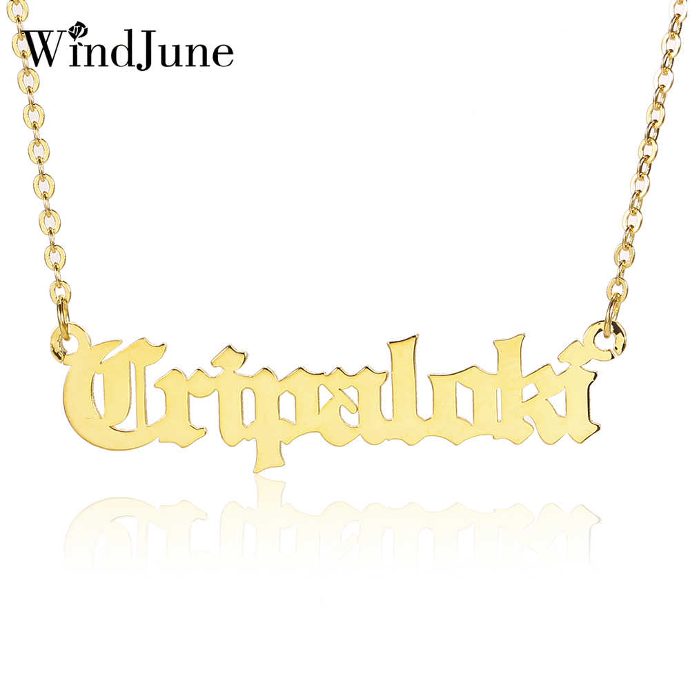 WindJune Personalized Custom Name Necklace & Pendant For Women Namenecklace Customized Nameplate Necklace Jewelry Gift