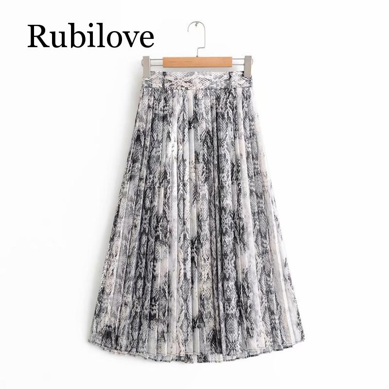 Rubilove Women American Style Snake Print High Waist Long Pleated Skirt Mid calf Length Female High Street Skirt with Sashes in Skirts from Women 39 s Clothing