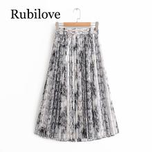 Rubilove Women American Style Snake Print High Waist Long Pleated Skirt Mid-calf Length Female Street with Sashes