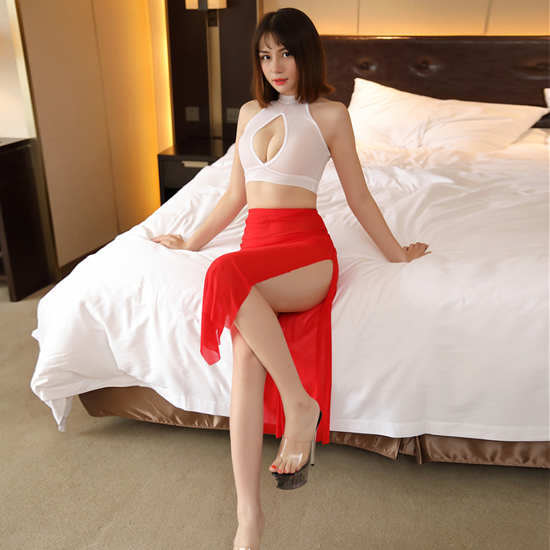 Sexy see through skirt Women Smooth Ice Silk See Through High Cut A Cute Skirt Transparent Night Club Skirt Fantasy Erotic Wear